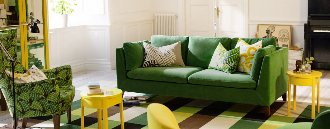 The new STOCKHOLM collection by IKEA -  Armchair high back in Mosta green and three-seat sofa in San__201341_hpinsthlm01a_04